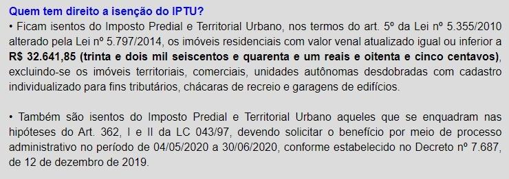 isenção IPTU 2020